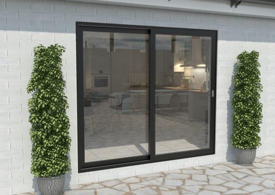 Part Q 2100mm Black Aluminium Sliding Doors RH Sliding / LH Fixed