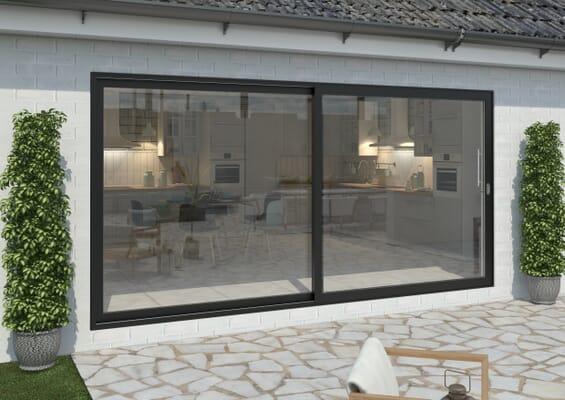 4200mm Black Aluminium Sliding Doors RH Sliding / LH Fixed