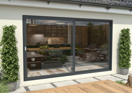 Climadoor Grey Aluminium Sliding Doors - Part Q Compliant