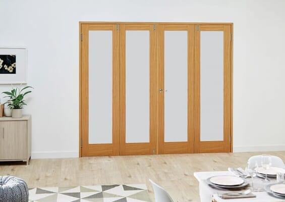 Prefinished Oak Frosted Folding Room Divider (3 x 533mm Doors)