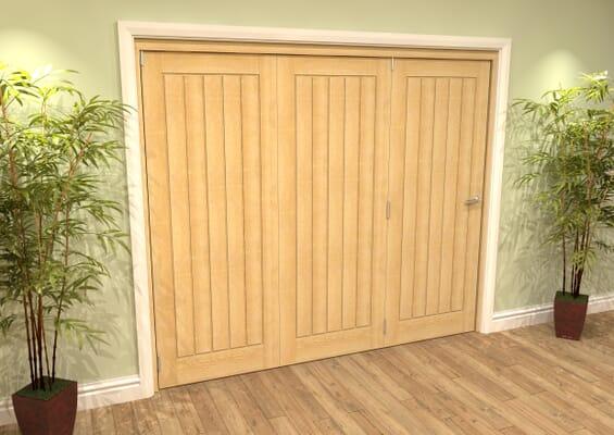 Mexicano Oak Folding Room Divider (3 x 610mm Doors)