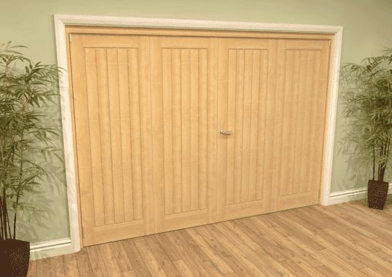 Mexicano Oak Folding Room Divider (4 x 610mm Doors)