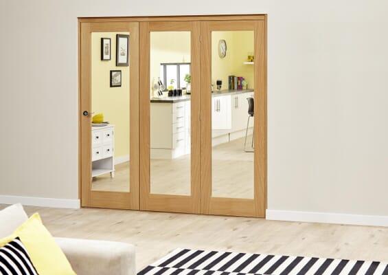 Slimline Prefinished Glazed Oak Roomfold Deluxe (3 x 419mm Doors)