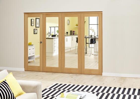 Slimline Prefinished Glazed Oak Roomfold Deluxe (4 x 381mm Doors)