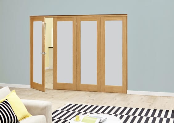 2400mm Prefinished Frosted P10 Oak Roomfold Deluxe