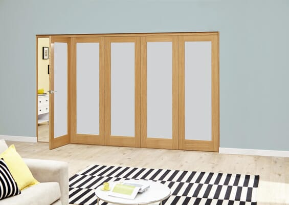 Prefinished Frosted P10 Oak Roomfold Deluxe (5 x 610mm doors)