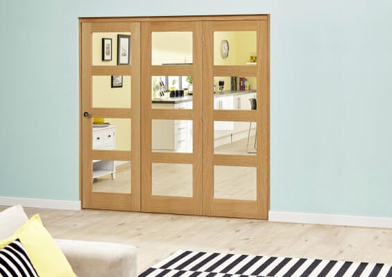 Oak Prefinished 4L Roomfold Deluxe (3 x 762mm doors)