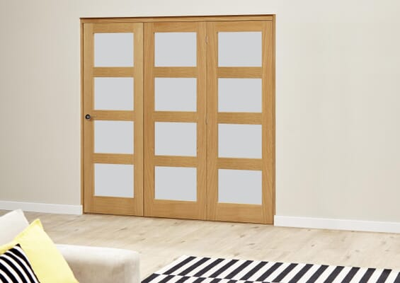 Prefinished Oak 4L Roomfold Deluxe - Frosted Glass