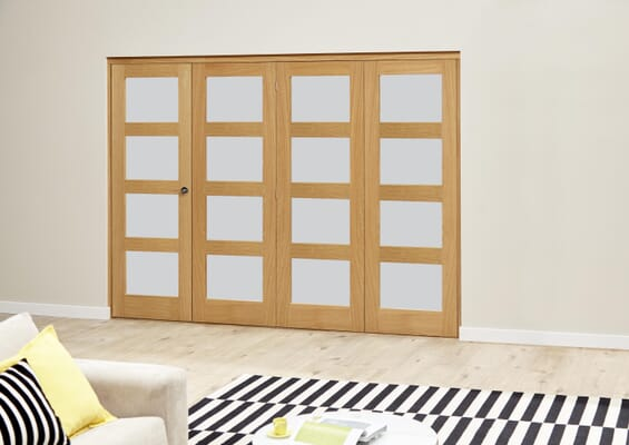 Frosted Pre finished 4L Roomfold Deluxe (4 x 610mmmm doors)
