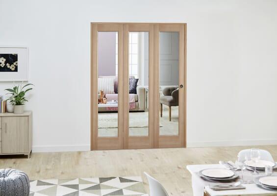 Slimline Oak P10 Roomfold Deluxe (3 x 381mm Doors)