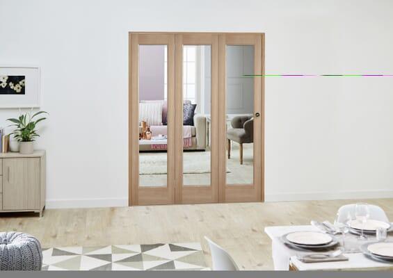 Slimline Oak P10 Roomfold Deluxe (3 x 419mm Doors)