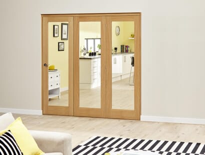 Glazed Oak Roomfold Deluxe - Clear Image