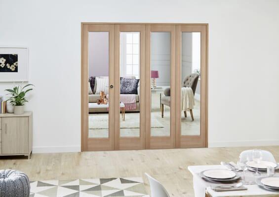 Slimline Oak P10 Roomfold Deluxe (4 x 381mm Doors)