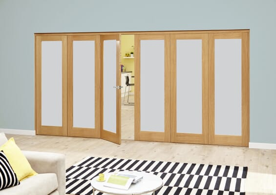 Frosted P10 Oak Roomfold Deluxe (3 + 3 x 610mm doors)