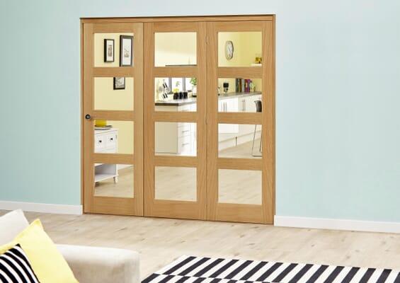 Oak 4L Clear Roomfold Deluxe (3 x 762mm doors)