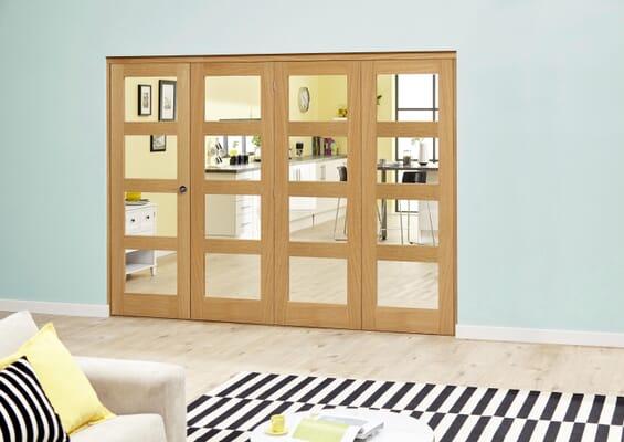 Oak 4L Clear Roomfold Deluxe (4 x 686mm doors)