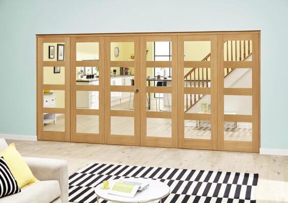 Oak 4L Clear Roomfold Deluxe (5 + 1 x 610mm doors)