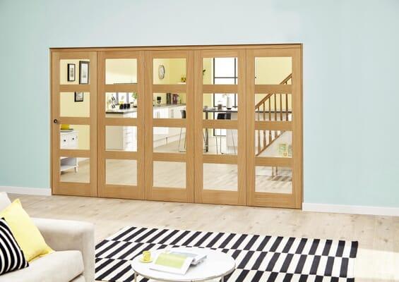 Oak 4L Clear Roomfold Deluxe (5 x 686mm doors)