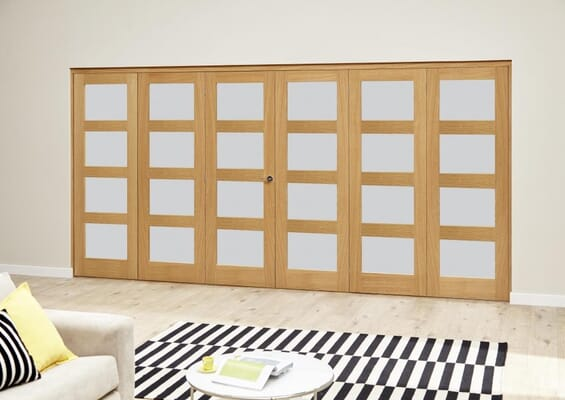 Oak 4L Frosted Roomfold Deluxe (3 + 3 x 686mm doors)