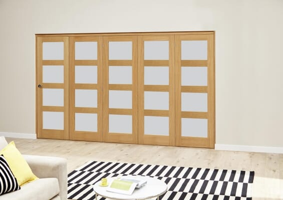 Oak 4L Frosted Roomfold Deluxe (5 x 686mm doors)