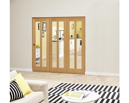 Aston Oak Roomfold Deluxe - Clear Glass Internal Bifold Doors