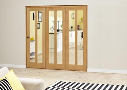 Aston Oak Roomfold Deluxe - Clear Glass