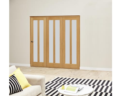 Aston Oak Roomfold Deluxe - Frosted Glass Internal Bifold Doors