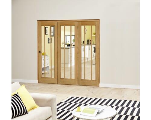 Lincoln Oak Roomfold Deluxe - Clear Glass Internal Bifold Doors