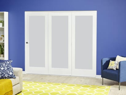 Glazed White Roomfold Deluxe - Frosted Glass Image
