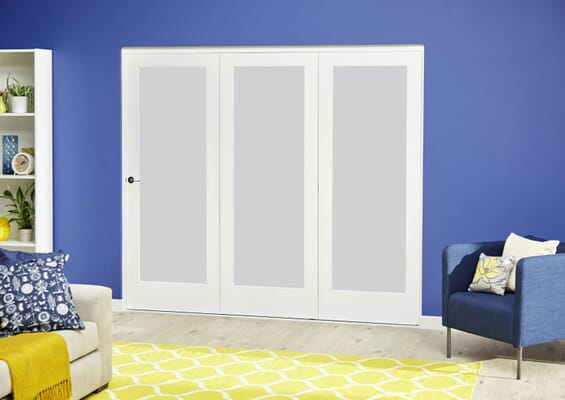 White P10 Roomfold Deluxe - Frosted Glass