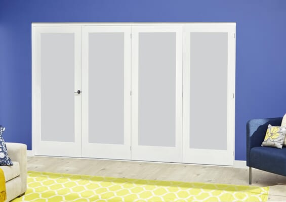White P10 Frosted Roomfold Deluxe (4 x 686mm doors)