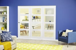 White 4L Shaker RoomFold Deluxe Doors Image