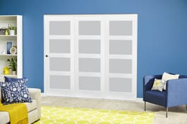 White 4L Shaker RoomFold Frosted Deluxe Doors Image