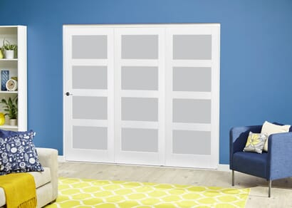 White 4L Roomfold Deluxe - Frosted Glass