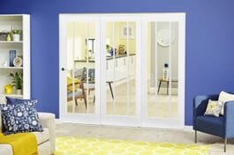 Lincoln White Primed RoomFold Deluxe Doors Image