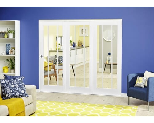 Lincoln White Roomfold Deluxe - Clear Glass Internal Bifold Doors