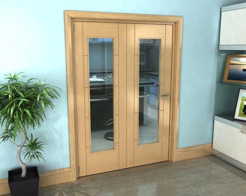 Oak Iseo Roomfold Grande - Pattern 10 Clear Prefinished Internal Bifold Doors