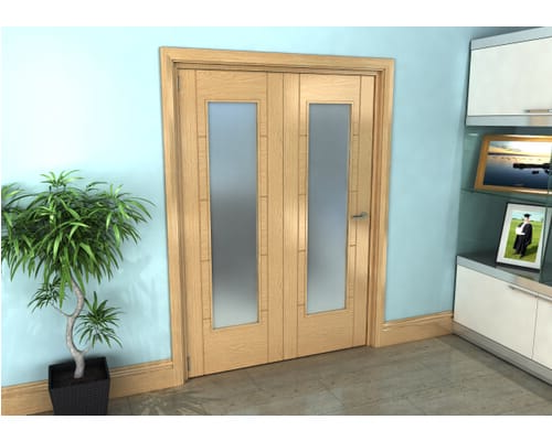 Oak Iseo Roomfold Grande - Pattern 10 Frosted Prefinished Internal Bifold Doors