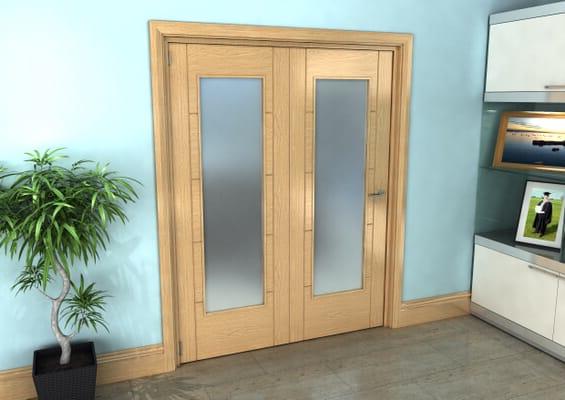 Iseo Oak Pattern 10 Frosted 2 Door Roomfold Grande (2 + 0 x 762mm Doors)