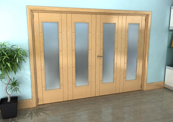 Iseo Oak Pattern 10 Frosted 4 Door Roomfold Grande (2 + 2 x 686mm Doors)