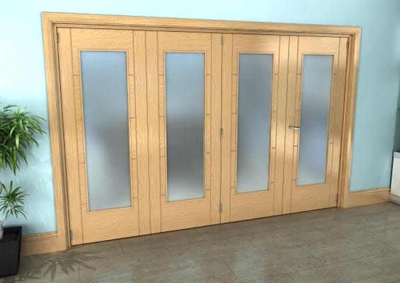 Iseo Oak Pattern 10 Frosted 4 Door Roomfold Grande (3 + 1 x 762mm Doors)