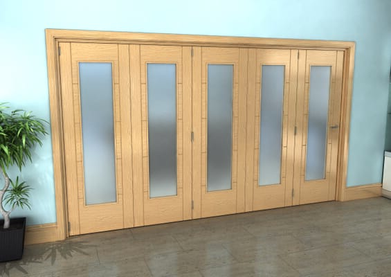 Iseo Oak Pattern 10 Frosted 5 Door Roomfold Grande (5 + 0 x 686mm Doors)