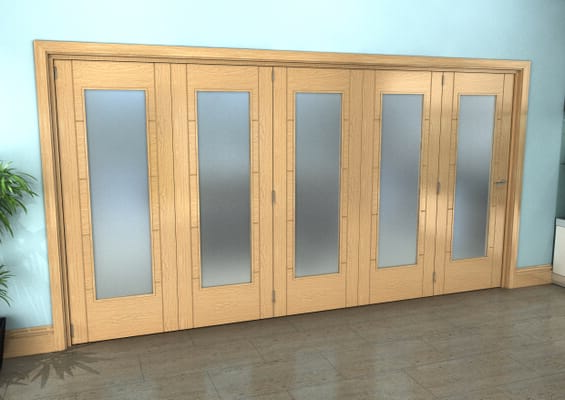 Iseo Oak Pattern 10 Frosted 5 Door Roomfold Grande (5 + 0 x 762mm Doors)