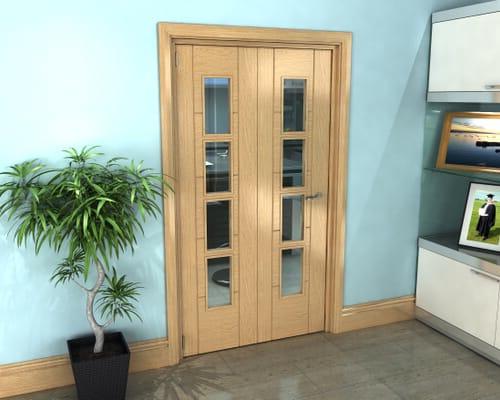 Oak Iseo Roomfold Grande - 4 Light Clear Prefinished Internal Bifold Doors