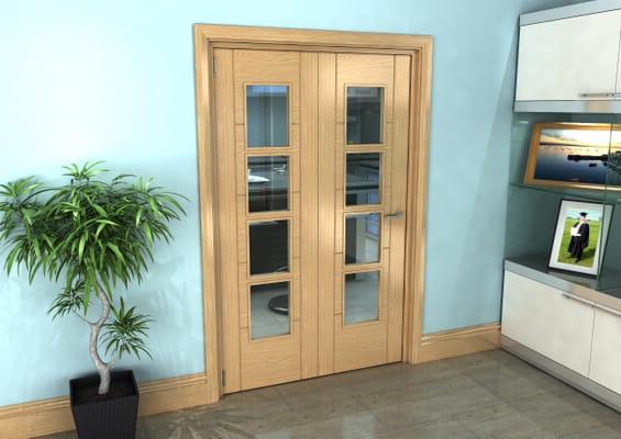 Iseo Oak 4 Light Clear 2 Door Roomfold Grande (2 + 0 x 610mm Doors)