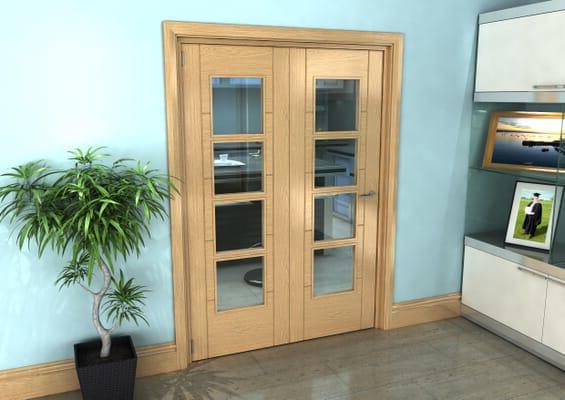 Iseo Oak 4 Light Clear 2 Door Roomfold Grande (2 + 0 x 686mm Doors)