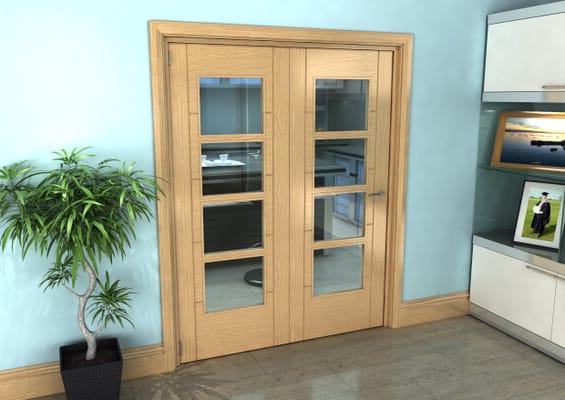 Iseo Oak 4 Light Clear 2 Door Roomfold Grande (2 + 0 x 762mm Doors)