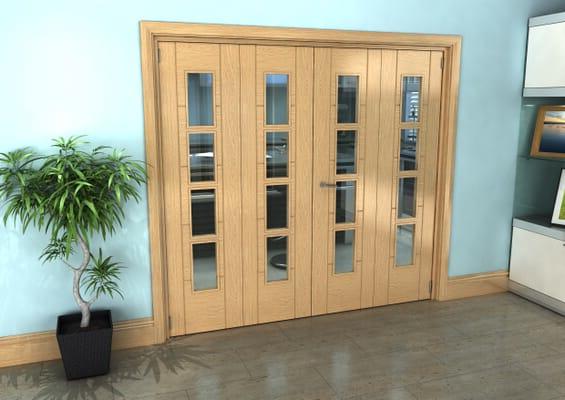 Iseo Oak 4 Light Clear 4 Door Roomfold Grande (2 + 2 x 533mm Doors)