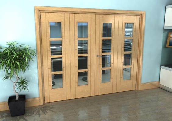 Iseo Oak 4 Light Clear 4 Door Roomfold Grande (2 + 2 x 610mm Doors)