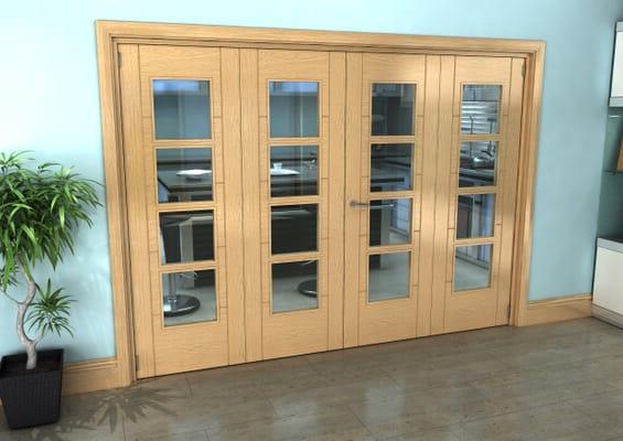 Iseo Oak 4 Light Clear 4 Door Roomfold Grande (2 + 2 x 686mm Doors)